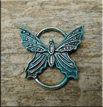 Butterfly Pendant or Buterfly Jewelry Connector - Verdigris Patina