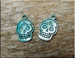 SOLDOUT - Day of the Dead Skull Charm, Verdigris Patina