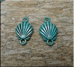 Double-Sided Sea Shell Charm-Connector - Verdigris Patina