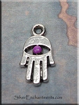 Hamsa Charm with Purple Patina, 15x8mm Small Hamsa Eye Jewelry