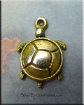 Turtle Charm, Olive Moss Patina