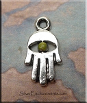 Hamsa Charm with Olive Moss Patina, Small Hamsa Eye Jewelry