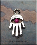 Hamsa Charm with Fuchsia Pink Patina, 15x8mm Small Hamsa Eye Jewelry