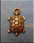 Small Silver Turtle Charm with Copper Rust Patina