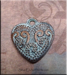 Copper Fancy Scroll Heart Charm, Light Aqua Patina