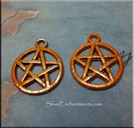 SOLDOUT - Orange Pentacle Charm with Sweet Potato Patina, Pagan Jewelry