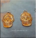 Silver Day of the Dead Skull Charm with Sweet Potato Patina