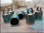 Fancy Jewelry End Cap with 8mm Opening, Verdigris Patina 1 per bag