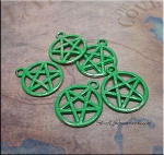 Jade Pentacle Charm, Pentagram Charm with Jade Green Patina, Pagan Jewelry