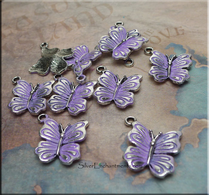 Butterfly Charm with Lavender Patina