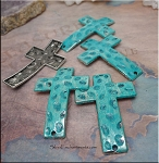 SOLDOUT - Pebble Cross Bracelet Connector with Verdigris Patina