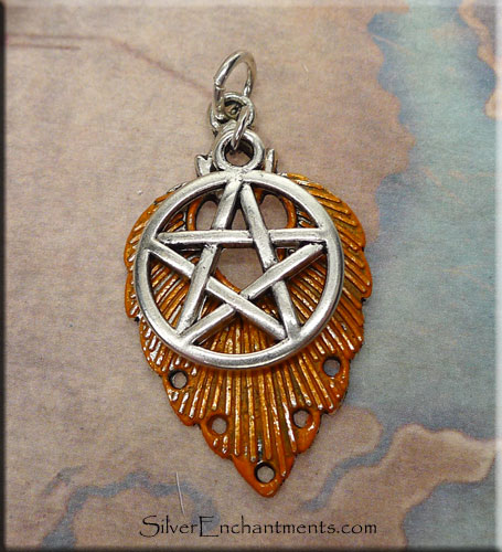 Orange Pentacle Necklace, Fancy Pentacle Pendant with Sweet Potato Patina, 2-piece Pendant, Pagan Jewelry