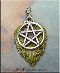 SOLDOUT - Green Pentagram Necklace, Fancy Pentacle Pendant with Moss Patina, 2-piece Pendant