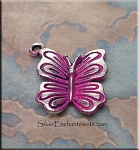Butterfly Charm with Hot Pink Patina