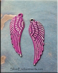 Angel Wing Pendant with Pink Patina