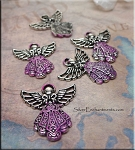 SOLDOUT - Ornate Angel Pendant with Pink Patina