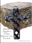 SOLDOUT - Fancy Cross Pendant with Metallic Sapphire Patina