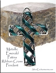 SOLDOUT - Fancy Cross Pendant with Metallic Emerald Patina