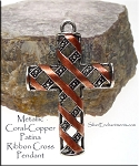 Silver Fancy Cross Pendant with Metallic Coral Copper Patina