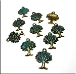 SOLDOUT - Bronze Tree Charm with Verdigris Patina