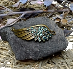 Angel Wing Bracelet Centerpiece, Bronze w Fairyland Sparkle Patina