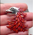 Phoenix Pendant with Vibrant Metallic Multicolor Patina