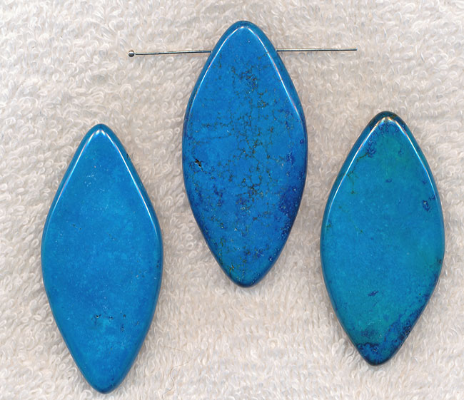 Turquoise Bead Pendants, Diamond Drop Large Stabilized