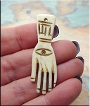 Bone Evil Eye Pendants, Carved Bone Evil Eye Warding Hand, Talisman Pendant