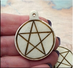 Carved Bone Pentacle Pendant