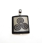 Bone Triskellion Pendant, Celtic Spiral Necklace Pendant