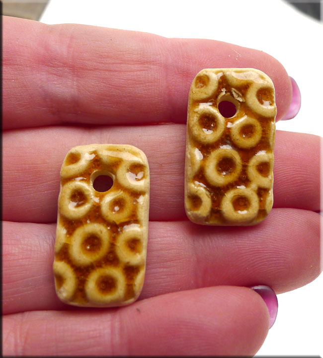 PAIR Glazed Ceramic Rectangle Charms, TOPAZ