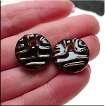 PAIR Glazed Ceramic Round Coin Charms, JET