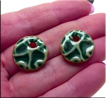 PAIR Glazed Ceramic Round Coin Charms, EMERALD TEAL