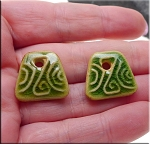 PAIR Glazed Ceramic Trapezoid Charms, GREEN