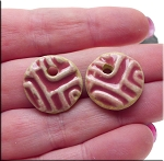 PAIR Glazed Ceramic Round Coin Charms, ROSE