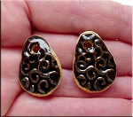 PAIR Glazed Ceramic Teardrop Charms, BLACK