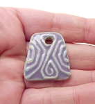 Trapezoid Ceramic Pendant Lavender Purple with Tribal Pattern 28mm