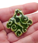 SOLD - Artistic Leaf Ceramic Pendant Emerald Green Glaze with Spiral Pattern 38x35mm