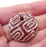 SOLD - Coin Ceramic Pendant Mauve Pink Glaze with Pattern 30mm
