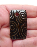 SOLD - Rectangle Ceramic Pendant Black Glaze with Spiral Pattern 40x23mm