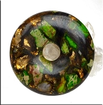 Green Sea Sediment Jasper Pendant, Jasper and Bronzite Composite Gemstone Donut, 50mm