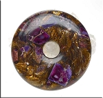 Purple Sea Sediment Jasper Pendants, Jasper and Bronzite Composite Gemstone Donut Pendant, 50mm (1)
