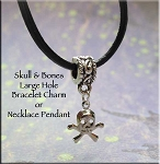 Skull and Bones Large Hole Bracelet Charm or Necklace Pendant, European-type Jewelry