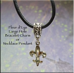 Fleur d'Lys  Large Hole Bracelet Charm or Necklace Pendant, European-style Jewelry