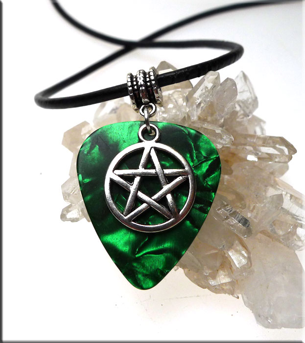 SOLDOUT - Pentacle Guitar Pick Pendant Necklace, Green