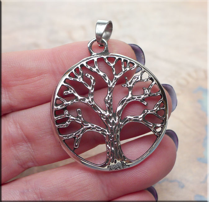 Bailed Tree of Life Pendant, Large 34mm Tree of Life Necklace