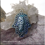 Ornate Hamsa Pendant wth Midnight Blue Patina