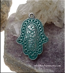 Ornate Hamsa Pendant with Turquoise Jade Patina