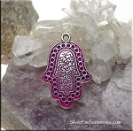 Silver Hamsa Pendant with Hot Pink Patina