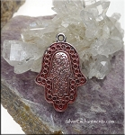 Silver Hamsa Pendant with Old Rose Pink Patina